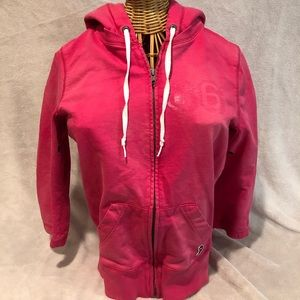 Pink 3/4 Sleeve Zip Up Hoodie Size Small